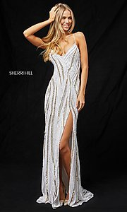 Image of long open-back sequin prom dress by Sherri Hill. Style: SH-51743 Detail Image 1