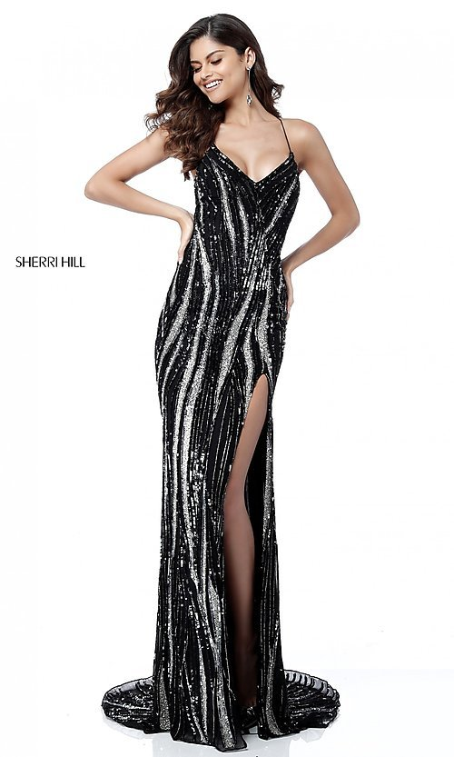 Image of long open-back sequin prom dress by Sherri Hill. Style: SH-51743 Front Image