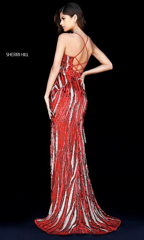 Image of long open-back sequin prom dress by Sherri Hill. Style: SH-51743 Back Image