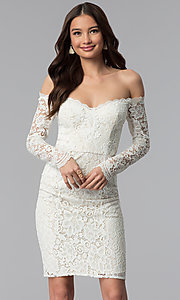 Long-Sleeve Lace Off-the-Shoulder Graduation Dress