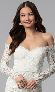 Image of long-sleeve lace off-the-shoulder graduation dress. Style: LP-25070 Detail Image 1