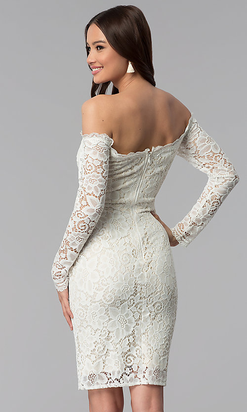 Image of long-sleeve lace off-the-shoulder graduation dress. Style: LP-25070 Back Image