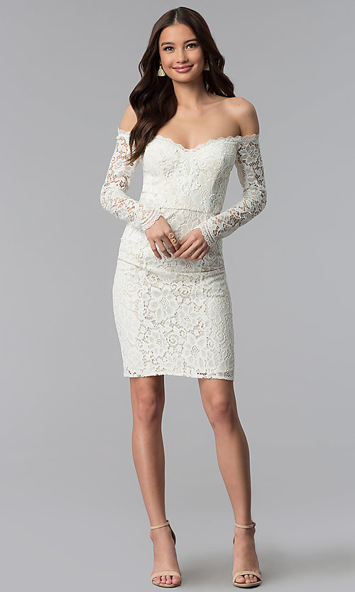 Image of long-sleeve lace off-the-shoulder graduation dress. Style: LP-25070 Detail Image 2