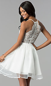 Image of short ivory a-line graduation dress with lace back. Style: LP-24744i Back Image