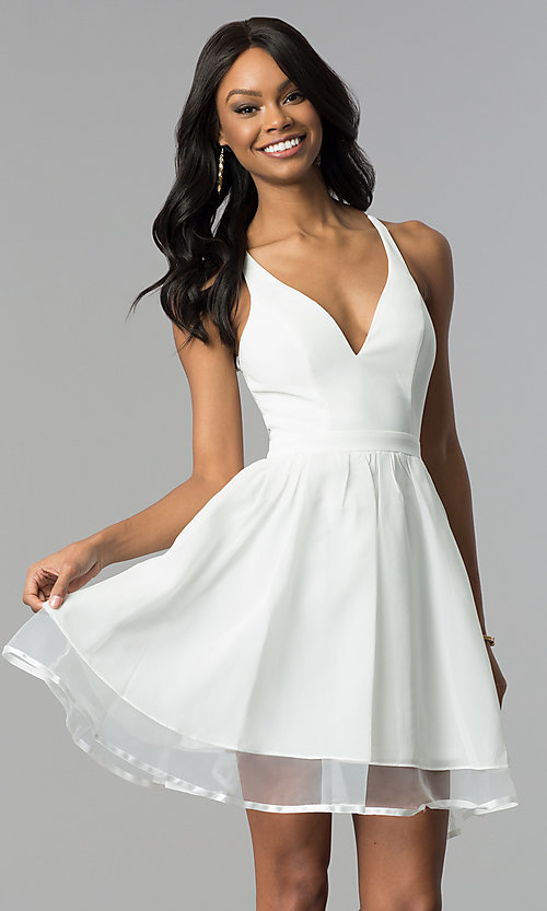 Image of short ivory a-line graduation dress with lace back. Style: LP-24744i Front Image