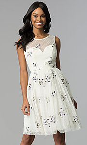 A-Line Embroidered Tulle Illusion Graduation Dress