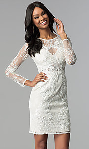 Illusion-Lace Long-Sleeve Sheath Graduation Dress