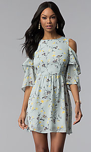 Image of short print party dress with 3/4 flutter sleeves. Style: ESL-60951-K Front Image