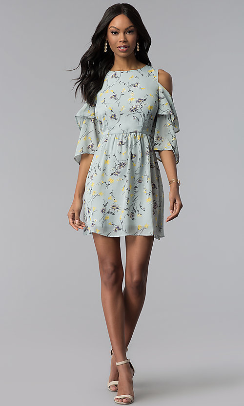 Image of short print party dress with 3/4 flutter sleeves. Style: ESL-60951-K Detail Image 3