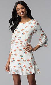 Sleeved Floral-Print Short Ivory Casual Derby Dress