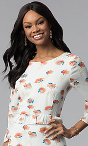 Image of sleeved floral-print short ivory casual derby dress. Style: ESL-62141D-K Detail Image 1