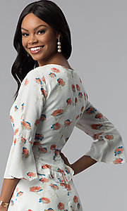 Image of sleeved floral-print short ivory casual derby dress. Style: ESL-62141D-K Detail Image 2