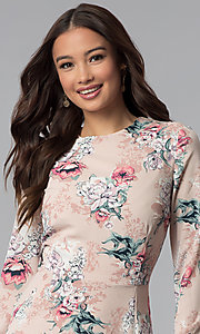 Image of long-sleeve pink floral-print short party dress. Style: ESL-62209D-K Detail Image 1