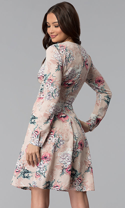 Image of long-sleeve pink floral-print short party dress. Style: ESL-62209D-K Back Image