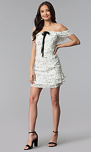 Image of ivory floral-print off-the-shoulder short party dress. Style: ESL-62727D-Y Detail Image 1
