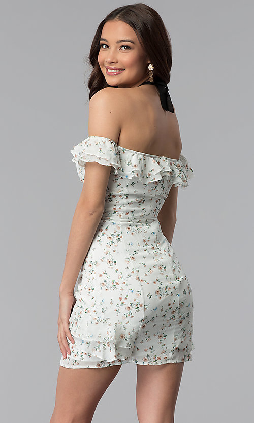 Image of ivory floral-print off-the-shoulder short party dress. Style: ESL-62727D-Y Back Image