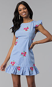 Image of short cap-sleeve casual blue cotton dress with print. Style: ESL-62455D-R Front Image