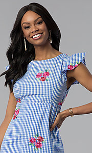 Image of short cap-sleeve casual blue cotton dress with print. Style: ESL-62455D-R Detail Image 1