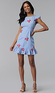 Image of short cap-sleeve casual blue cotton dress with print. Style: ESL-62455D-R Detail Image 3