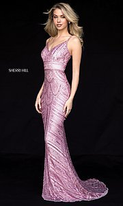 Beaded V-Neck Long Sherri Hill Prom Dress