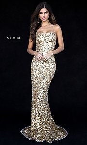 Long Straight-Neck Sequin Open-Back Prom Dress