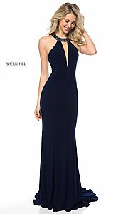 Long High-Neck Prom Dress with a V-Neck Cut-Out