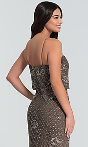Image of beaded Adrianna Papell long bridesmaid dress. Style: HOW-APPBM-40134 Detail Image 4