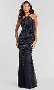 Image of beaded Adrianna Papell long bridesmaid dress. Style: HOW-APPBM-40134 Detail Image 5