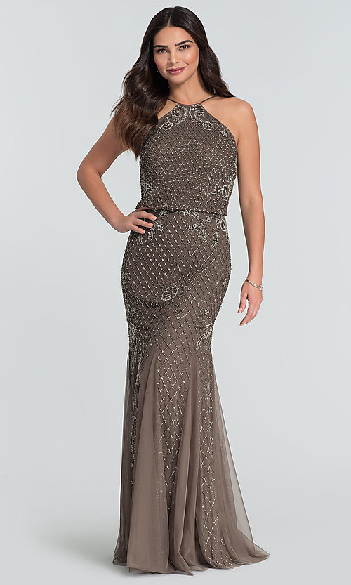 Image of beaded Adrianna Papell long bridesmaid dress. Style: HOW-APPBM-40134 Front Image