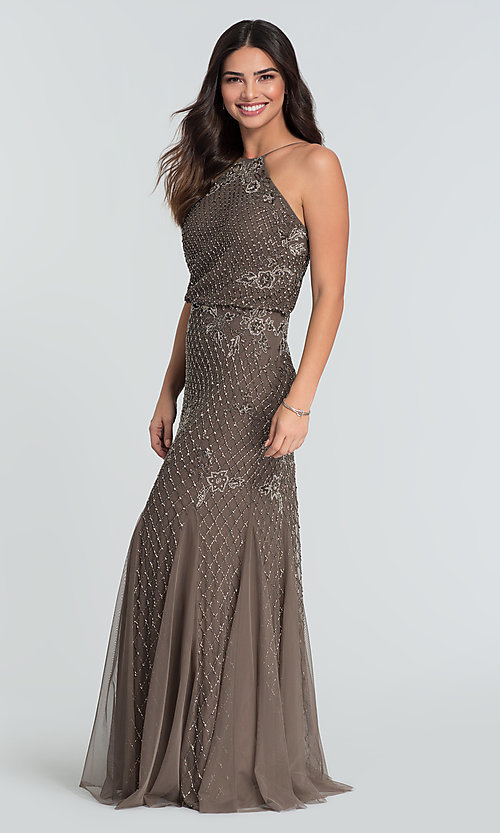 Image of beaded Adrianna Papell long bridesmaid dress. Style: HOW-APPBM-40134 Detail Image 1