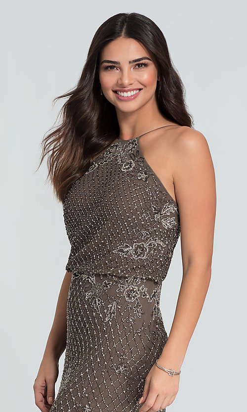 Image of beaded Adrianna Papell long bridesmaid dress. Style: HOW-APPBM-40134 Detail Image 2