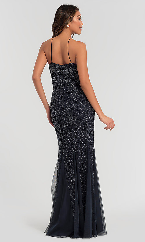 Image of beaded Adrianna Papell long bridesmaid dress. Style: HOW-APPBM-40134 Detail Image 6