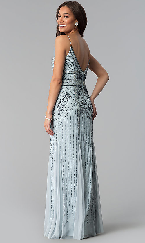 Vintage Inspired Embellished Long Prom Dress