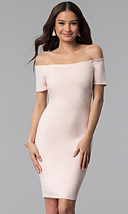 Off-the-Shoulder Short-Sleeve Graduation Dress