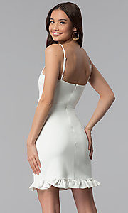 Image of short day-to-night white graduation party dress. Style: JTM-JD8354 Back Image
