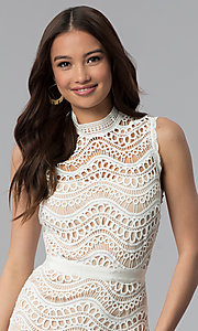 Image of white crocheted-lace knee-length graduation dress. Style: JTM-JMD7752 Detail Image 1