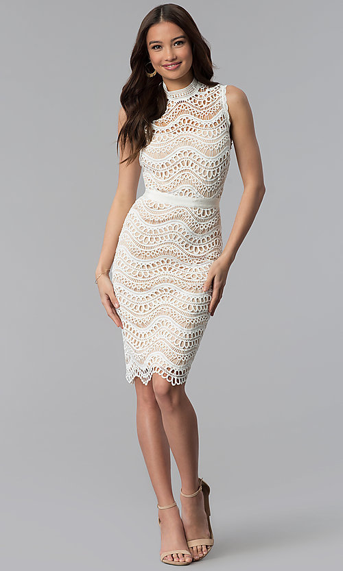 Image of white crocheted-lace knee-length graduation dress. Style: JTM-JMD7752 Detail Image 3
