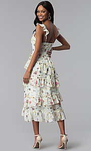Image of knee-length floral-print wedding-guest party dress Style: JTM-JMD8486 Back Image