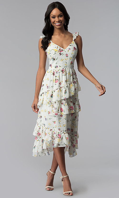 Image of knee-length floral-print wedding-guest party dress Style: JTM-JMD8486 Front Image