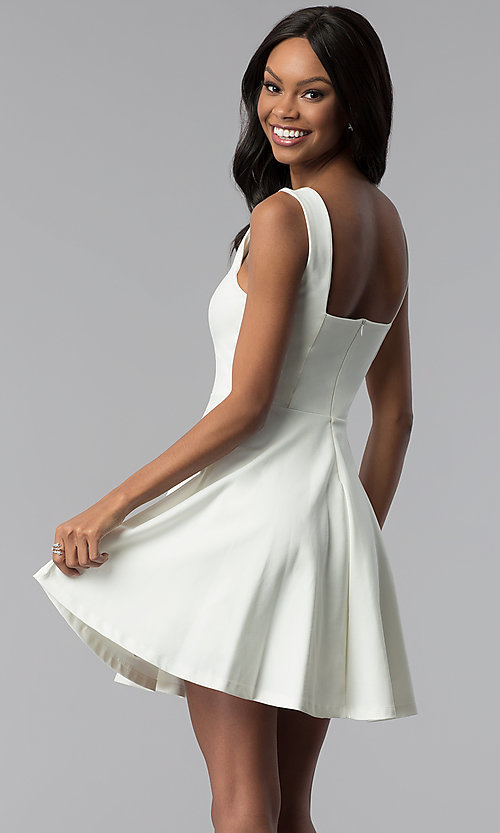 Image of square-neck short graduation party dress. Style: JTM-JD8675 Back Image