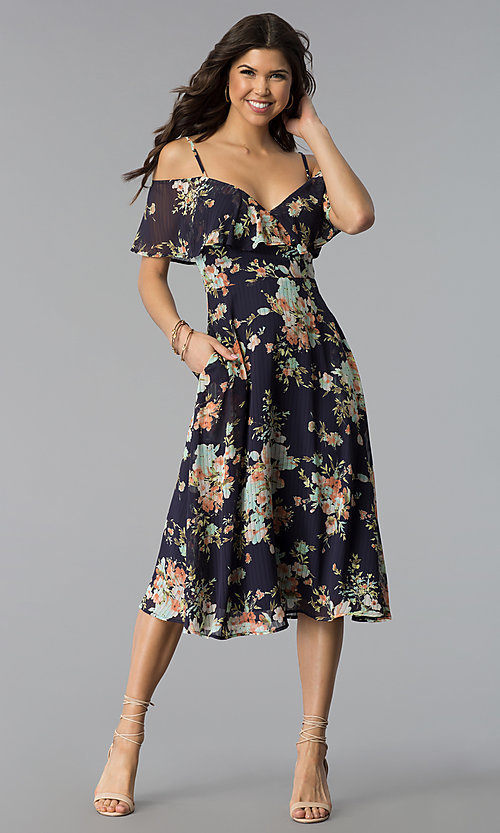 Image of tea-length short print casual Navy party dress. Style: JTM-JD8522 Front Image