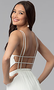 Image of long v-neck open-back white maxi graduation dress. Style: RO-R63897 Detail Image 2