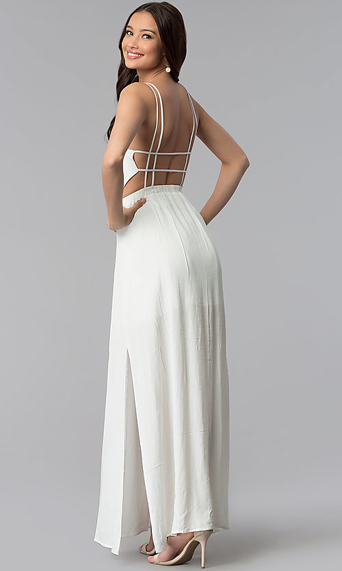 Open-Back V-Neck Maxi Graduation Dress - PromGirl