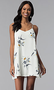 Image of short floral-print slip-style graduation party dress. Style: RO-R67363 Front Image
