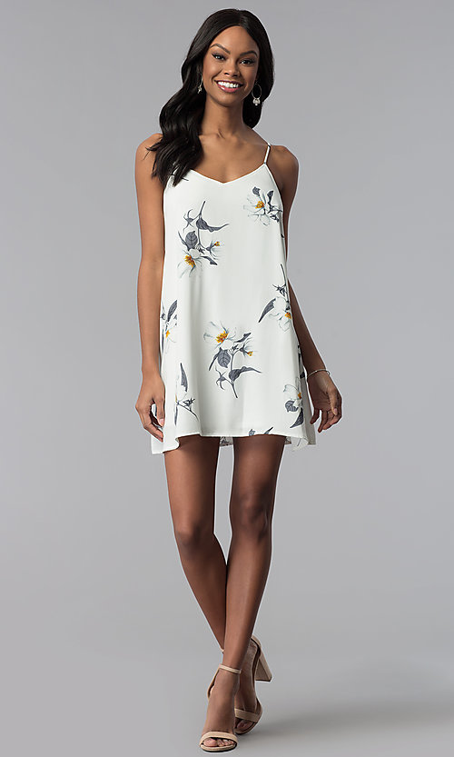 Image of short floral-print slip-style graduation party dress. Style: RO-R67363 Detail Image 3