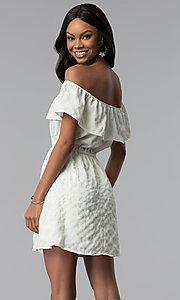 Image of short white off-the-shoulder party dress. Style: RO-R67296 Back Image