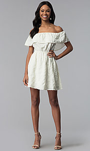 Image of short white off-the-shoulder party dress. Style: RO-R67296 Detail Image 3