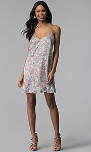 Image of short casual party dress in floral-print purple satin. Style: RO-R66656 Detail Image 3