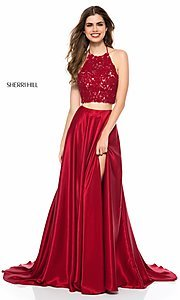Long High-Neck Halter Two-Piece Prom Dress