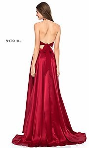 Image of Sherri Hill long halter two-piece prom dress. Style: SH-51843 Back Image